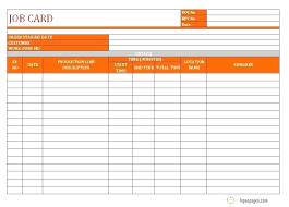 Workshop Job Card Template Free Service Marketing Management
