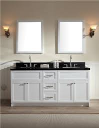 simple white bathrooms. Beige Wall Color With Black Countertop And Simple White 72 Inch Vanity Double Sink For Comfortable Bathroom Ideas Bathrooms