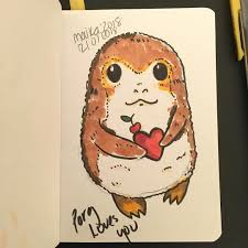 lorena on insram finally drawing for myself a porg to make