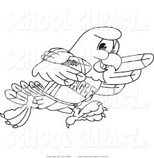 Clip Art of a Coloring Page of a Bald Eagle Hawk or Falcon in a ...
