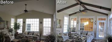 Vaulted ceiling wood beams Kitchen Before And After Photos Of Sun Rooms Vaulted Ceiling Remodeled With Exposed Beams Interior Decorating And Home Design Idas Vaulted Ceilings With Exposed Beams Faux Wood Workshop