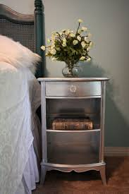 Silver Painted Bedroom Furniture Interior Contemporary Silver Nightstand With Three Drawer Cabinet