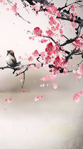 painting of bird and cherry blossoms reminiscent of asian style