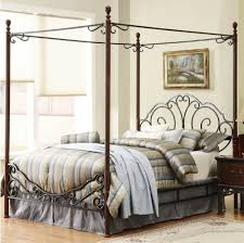 Amazon.com: Leann Graceful Scroll Iron Metal Canopy Poster Bed ...