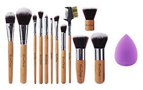 emaxdesign 12 1 pieces makeup brush set 12 pieces professional bamboo handle foundation blending