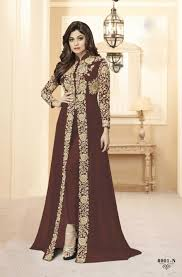 New Suit Design Pic Shamita Shetty Brown Georgette New Design Ladies Indian Suits