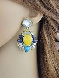 yellow pendant earrings women s crystal beaded chandelier earrings thumbnail