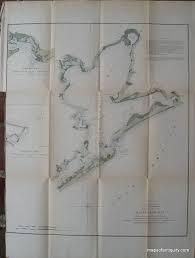 Preliminary Sketch Of Galveston Bay 1851 Antique Coast
