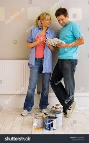 Diy Paint Color Chart Diy Couple Choosing Paint Color Decorating Stock Photo Edit