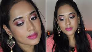 pink rosegold eyemakeup for indian festival wedding party in hindi l makeup for brownskin s