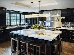 Kitchen, Black Kitchen Cabinets With White Countertops Under Cabinet  Lighting Rustic Exposed Brick Walls Puff
