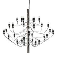 a chromed steel chandelier with 50 lights by gino sarfatti