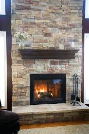 stone veneer over brick fireplace stacked install painted