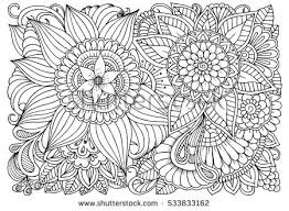 Small Picture Doodle Floral Drawing Art Therapy Coloring Stock Vector 533833162