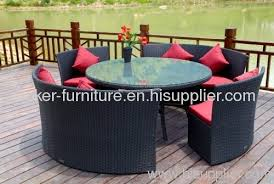 patio round wicker dining table with full weaving