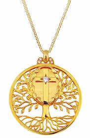 tree of life pendant and holy cross silver 925 gold plated loading zoom