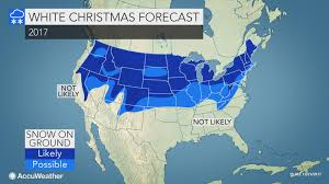 where in the us is a white christmas most likely this year