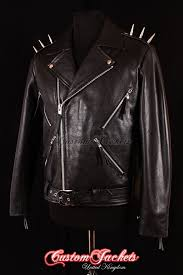 details about men s ghost rider black metal spikes motorcycle motorbike biker leather jacket
