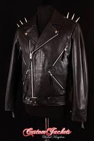 details about men s ghost rider black metal spikes motorcycle motorbike biker leather jacket