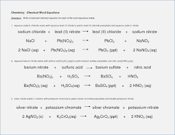 collection of chemical word equations worksheet key them and try to solve