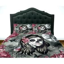 skull comforter sets sugar set duvet cover la bedding day of the twin queen fl and