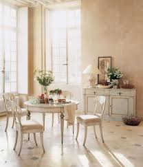 Living Room:Shabby Dining Room With Tile Flooring And Mid Century Dining  Furniture Also High