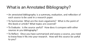 The Annotated Bibliography Mla Style What Is An Annotated