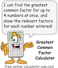 Greatest Common Factor Chart Greatest Common Factor Calculator To Find Gfc For Up To 4