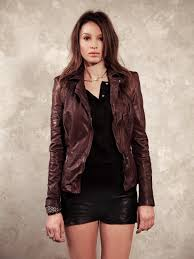lyra leather biker in berry