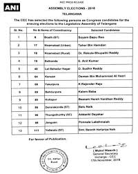 Mla List Telangana Assembly Elections 2018 Congress Releases Third List Of