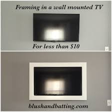 Wall Mounted Tv Frame How To Frame In A Wall Mounted Tv Blush And Batting Blog