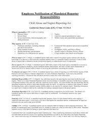 Employee Notification Of Mandated Reporter Responsibilities