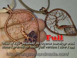 tree of life pendant in reverse teardrop copper wire wrapping stones fast version
