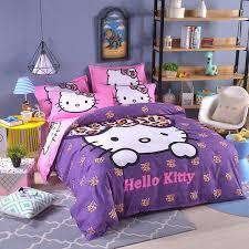 U Purple Pink Hello Kitty Bedding Set 4pcs Include Duvet Cover Bed Sheet  Pillowcase Children Kids Cartoon