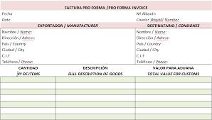 Formato De Factura De Exportacion Ejemplo De Factura Pro Forma Para La Aduana Modelos De Factura
