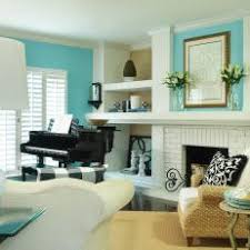Aqua Transitional Living Room With Piano