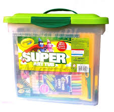 crayola super art tub colour twiles crayons pencils markers paint glitter new