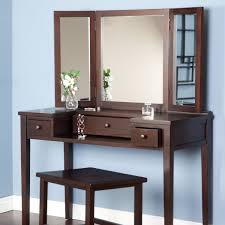 mirrored vanity furniture. DIY Vintage Vanity Table With Drawer And 3 Fold Mirror Set Wooden Frame High Legs Painted Brown Color Plus Stool Ideas Mirrored Furniture G