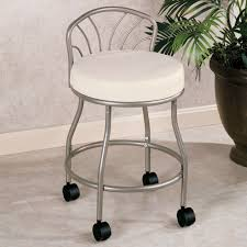 bathroom vanity chair with back. Flare Back Powder Coat Nickel Finish Vanity Chair With Casters Bathroom A