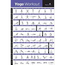Flow Workout Chart Newme Fitness Yoga Pose Exercise Poster Laminated Premium Instructional Beginners Chart For Sequences Flow 70 Essential Poses Sanskrit