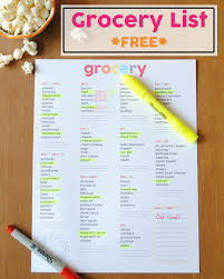 Grocer List Grocery List Free Printable One Beautiful Home