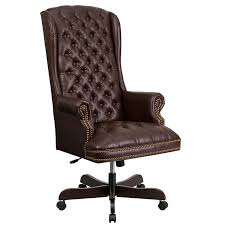 com flash furniture high back traditional tufted brown leather executive swivel chair with arms kitchen dining