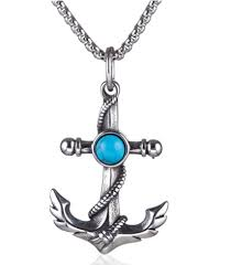 navy anchor cross turquoise pendant