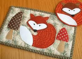 Mug Rug Patterns Simple Fox Mug Rug And Coaster Pattern Sew And Sell PatternPile