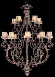 lighting two tier chandelier in tortoised leather le finish with stained silver leaf accents