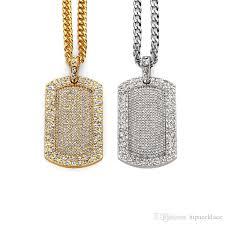 whole fashion men hip hop dog tag necklaces jewelry full rhineston design long chains filling pieces mens rock pendant necklaces diamond pendant