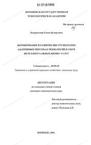 Диссертация на тему Формирование и развитие инструментария  Диссертация и автореферат на тему Формирование и развитие инструментария адаптивных персонал технологий в сфере