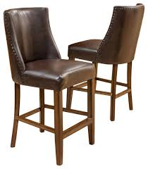 gdf studio rydel nailhead accent brown leather stools counter height set of 2