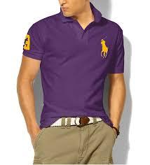 ralph lauren men purple short pony polo big sleeved yelow