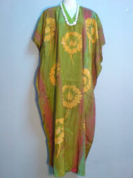 Batik Malaysian Hand Drawn Brush Batik Kaftan Caftan Long Dress